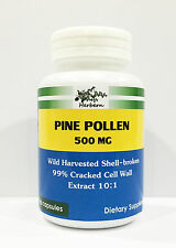 500MG x 60CAPS WILD HARVESTED SHELL BROKEN PINE POLLEN 99% CRACKED EXTRACT 10:1