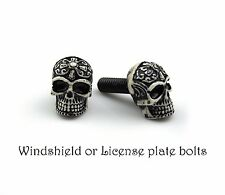 2 tribal Skull bolts for License plate frame screw,windshield, Motorcycle custom