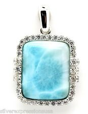 Natural AAA Dominican Larimar & Topaz 925 Sterling Silver Pendant Necklace