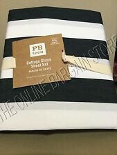 Pottery Barn Teen Cottage Stripe Bed College Dorm Sheets Set Black XL Twin NEW