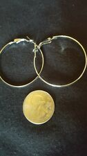 Smoothe finish silver hoop pierced earrings
