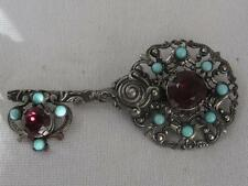 "SUPERB BEAUX ARTS 3 3/4"" FIGURAL KEY W/ AMETHYST GLASS & FAUX TURQUOISE BEADS"