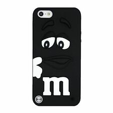 Black m&m Silicone Rubber Back Case Cover Skin For iPod Touch 6