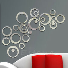 24 Circles Mirror Stlye DIY Removable Decal Vinyl Art Wall Sticker Home Decor