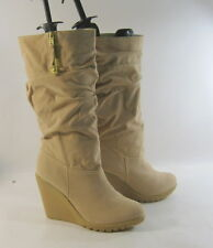 "nude 4""high  wedge heel faux suede Gold heart charm sexy mid-calf   size  9"