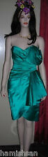 Victor Costa Turquoise Kelly Green Silk Satin Strapless Cocktail Dress Sz 4