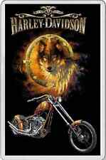 AWESOME FRIDGE MAGNET Golden Harley Davidson biker christmas gift wild wolf