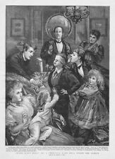 Victorian Christmas Parlour Games: Blind Mans Buff - Antique Print 1893