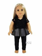 "DB LEATHER AND LACE OUTFIT for 18"" American Girl Dolls Black Leggings Skirt"
