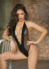 Fishnet and Pleather Teddy With Chains New Adult Womens Valentine Black One Size