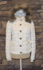 TORY BURCH White Puffer Gold Button Removable Fur Hooded Jacket Sz P Worn Once