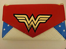 Wonder Woman Red White and Blue Logo DC Comics Envelope Chain Wallet Nwt