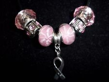 "PINK Handmade Tibetan Silver CANCER AWARENESS ""Hope"" Charm Crystal Necklace N-24"