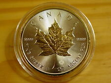 CANADIAN MINT 2016 MAPLE LEAF COIN 1 OZ 9999 SILVER 5 DOLLAR / 24KT GOLD RELIEF