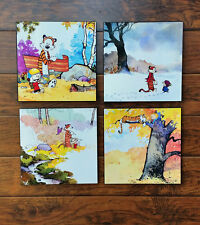 "Calvin and Hobbes 4 Print Set 01 Mounted 12 x 12"" Each"
