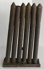 "Primitive Antique Candle Mold Metal Rustic Tin 6 Tube 10"" Mold Cabin Decor"