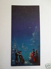 Vintage Unused Glittered Xmas Greeting Card Victorian Carolers Singing