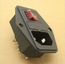 Inlet Plug Male 250V,10A Fuse Holde AC Power Hot Rocker Switch Socket With Cord