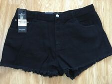 **CLEARANCE** Firetrap New Women's Black Denim Shorts Size 16 (XL) RRP £30