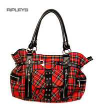BANNED Clothing Punk Tartan grand sac sac à main handcuff rouge goth