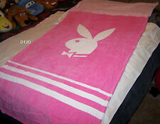 Playboy Bunny Logo Pink White Printed Velour Beach Towel In A Bag 80x170cm New