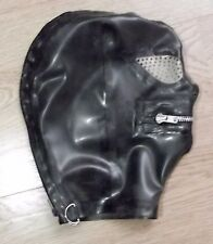 Latex Rubber Fitted Hood BLK Rear zip - ZIP Mouth  Pepper Pot Eyes & Nose S-XL