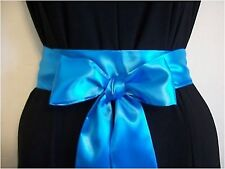 "2.5""X85"" TURQUOISE BLUE SATIN SASH SELF TIE BOW BELT FOR DRESS PARTY PROM"