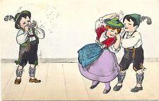 Kinder in Trachtenkleidung, Lederhosen, Musik, Tanz, um 1910