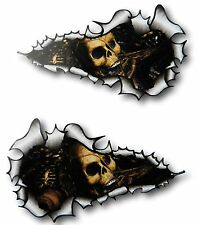 LONG Handed Pair Ripped Open Torn Metal Rip With Evil Skull Inside car sticker