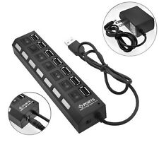 7 PORT USB 3.0 HUB High Speed 5 Gbps On/Off Switch +Cable For PC Notebook