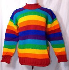 NEW SIESTA FAIR TRADE HIPPY ETHNIC BOHO PURE WOOL RAINBOW JUMPER NEPAL XL