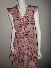 ANTHROPOLOGIE Lil 3 Tired Silk Dress Multicolored Floral Print Sz 0 NWT