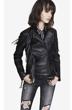 NEW EXPRESS $168 BLACK MINUS THE LEATHER FRINGE MOTO JACKET SZ S SMALL