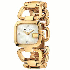 New Gucci G-Gucci Mother of Pearl Diamond Dial Gold Tone Ladies Watch YA125513