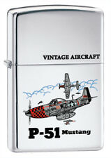 US Army P-51 Mustang WWII Vintage Military Aircraft Chrome Zippo Lighter
