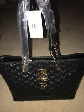 BETSEY JOHNSON BE MY BABY HEART QUILTED PURSE TOTE HAND SHOULDER BAG BLACK $128