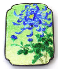 Beautiful Antique Basse Taille Green Enamel Belt Buckle Blue Chrysanthemum