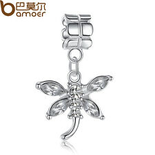 Luxury Silver Charms With Crystal Butterfly Pandent Fit European Pa Bracelet