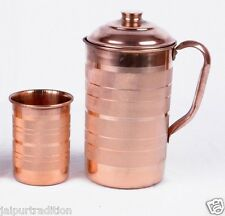 Indian Handmade 1.7 Ltr COPPER WATER JUG WITH 1 GLASS WATER NATURAL Ayurveda