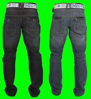 Boys ENZO Denim Jeans Straight Leg New *Free Belt* Sale Zip Fly Waist Size 24-29