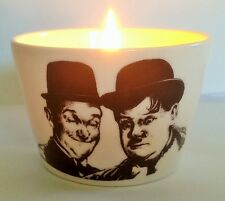 STAN LAUREL AND OLIVER HARDY b/w BONE CHINA TEALIGHT CANDLE HOLDER