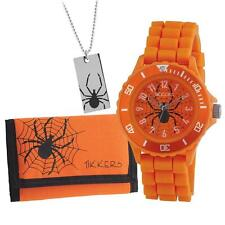 TIKKERS BOYS STUNNING SPIDER ORANGE SILICONE STRAP WATCH, WALLET & NECKLACE SET