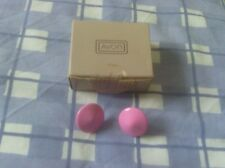Avon Aqua tones earrings domed bright pink - vintage collectable