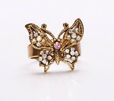 GOLD METAL RING FEATURING AN ORNATE, GEMSTONE DECORATED BOHO BUTTERFLY (ZX44)