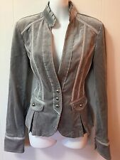 New White House Black Market Silver Gray Velvet Military Button Jacket NWOT 6