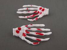 White Red set pack of 2 skeleton hand bones hair clips alligator claw clamp