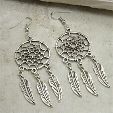 New Fashion Jewelry Vintage Silver Plated Dream Catcher Long Drop Earring Gift