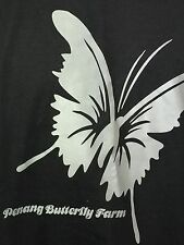 Penang Butterfly Farm Malaysia Black Graphic T Shirt 100% Cotton Large L NWOT