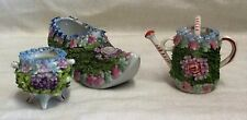 Victorian Flower Encrusted Shoe, Watering Can & Urn