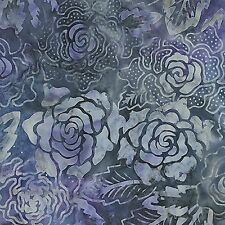 Garden Oasis Tropical Rose Violet Blue  52-66 Batik Quilt Fabric by the 1/2 yd